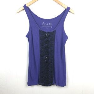 Threads 4 Thought Purple Black Lace Sequin Tank M